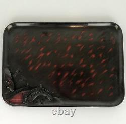 12 1950's MID Century Japanese Lacquer Wood Food Sushi Tea Serving Trays Vintage