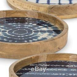 15.75 In Mango Wood Serving Tray Assorted Indigo Tie Dye Patterns Kitchen 3 Set