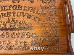 16 Vintage KALMAR Teak Wood CUSTOM Cut Spirt Spell Ouija Board Skull Grave Tray