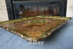 18Italian Florentine Toleware Serving Wood Tray Platter Gilt&Green Art Nouveau