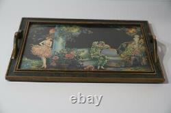 1930's Art Deco Glass Cocktail Serving Bar Tray with Girl and Jester