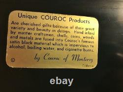 1950 Original COUROC MONTEREY Signed Pelican Inlaid Wood & Brass Tray with Label