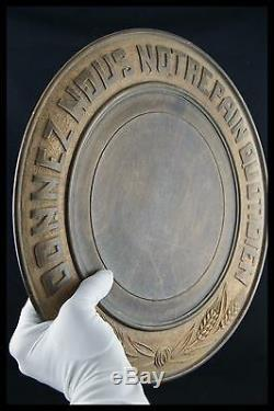 19th French Folk Art Catholic Bread Serving Tray / Plate Graved Wood 15