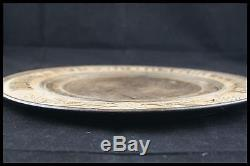 19th Large French Catholic Bread Serving Tray / Plate Hand Graved Wood 15