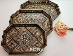 1Handmade wooden tray set, 3 Pieces, inlaid with different kinds of fruit woods