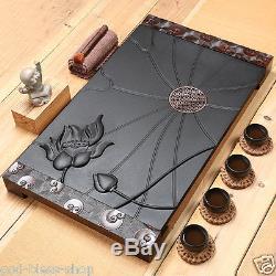 2017 newly listed tea tray black stone tea table wood tray tea drainage tea boat