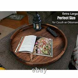 22 Inches Extra Large Round Black Walnut Wood Ottoman Tray with Handles, Serve