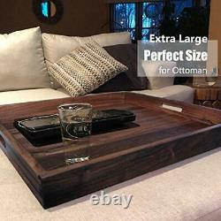 22 x 22 Inches Large Square Black Walnut Wood Ottoman Tray with Handles, Serve