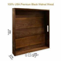 23 X 23 Extra Large Square USA Premium Black Walnut Wood Ottoman Serving Tray