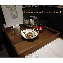 23 X 23 Extra Large Square USA Premium Black Walnut Wood Ottoman Serving Tray
