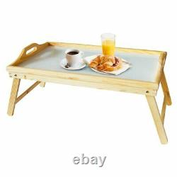 2 in 1 WOODEN BEDSIDE TABLE TRAY WITH FOLDING LEGS PORTABLE SERVING TRAY