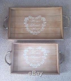 2x Wood Serving Trays Home Decor Shabby Chic Vintage Decorative Dining Kitchen