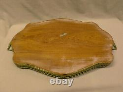 3363M Vtg Italy Marquetry 23 Serving Tray Inlaid Wood withBrass Railing AQUA TOP