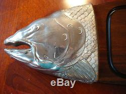 36 LARGE WOOD & METAL FISH SERVING TRAY FRANCE wall hanger 6 1/2 pounds