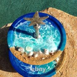 3D Wave Coastal Sea Scape 2-Tiered Round Serving Tray Ocean Beach Mother's Day