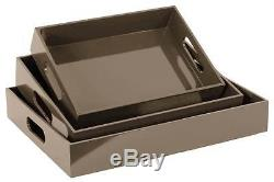 3-Pc Rectangular Serving Tray with Cutout Handles in Taupe ID 3490153