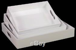 3-Pc Rectangular Serving Tray with Cutout Handles in White ID 3490152