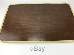 3 Vtg Faux Wood Metal TV TRAYS With Rolling Stand Retro Mid Century Modern MCM