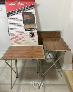 4 Vintage Faux Wood Fiberboard & Metal TV Trays with Rolling Stand & Original Box