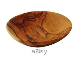 5 Hand Carved Bethlehem Olive Wood Round Serving Tray Plate Bowl Jerusalem Gift