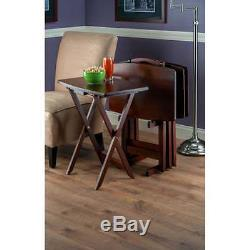 5-Piece Oblong TV Tray Set Tray Table Folding Wood 5 Piece Stand Serving Dinner