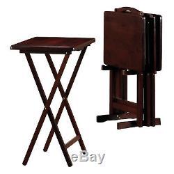 5-Piece TV Tray Folding Wood Table Set TV Dinner Coffee Snack Tea Side Serve End