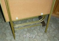 5 Vtg Faux Wood Metal TV TRAYS Stand Block Pattern Retro Mid Century Modern
