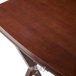 5pc Oblong TV Tray Set Oversize Dinner Serving Table Wood Snack Portable Folding