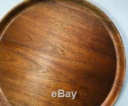 60s Mid Century Modern Teak Wood Danish Denmark 18 Serving Bar Tray Lazy Susan