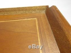 (6) matching Vintage Inlaid Wooden Serving Tray Marquetry Wood NICE SET of 6