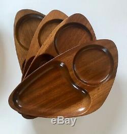 (8) Mid Century Modern Danish Teak Wood Guitar Pick Bar Drink Serving Tray Plate