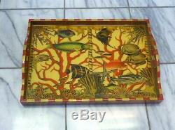 ANNIE MODICA OCEANS Fish Coral Decopauge Wood 21 X 15 Serving Tray MSRP $393
