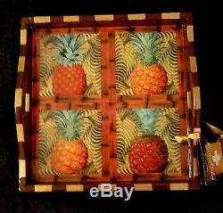 ANNIE MODICA PINEAPPLE 12x12 WOOD TRAY Decoupage Art Bar Tray NEW WithTAG