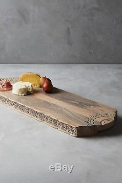 Anthropologie Arboleca Cheese Board Serving Tray Hand Carved Mango Wood