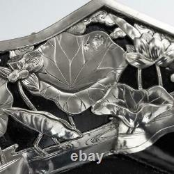 ANTIQUE 20thC JAPANESE SOLID SILVER ON WOOD SERVING TRAY, ARTHUR & BOND c. 1900