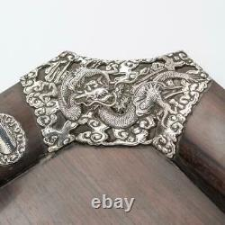 ANTIQUE 20thC JAPANESE SOLID SILVER ON WOOD SERVING TRAY c. 1900