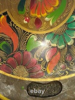 ANTIQUE CARVED WOOD 15 X 11 HANDLED SERVING TRAY HAND PAINTED FLOWERS ts17j