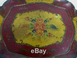 ANTIQUE CARVED WOOD 26 X 18 HANDLED SERVING TRAY w HAND PAINTED FLOWERS