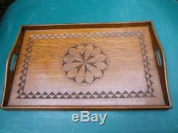 ANTIQUE CHIP CARVED SILKY OAK WOODEN SERVING TRAY ART & CRAFTS 1900's