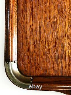 ANTIQUE ENGLISH VICTORIAN EDWARDIAN OAK WOOD METAL SERVING BUTLER TRAY 22 x 16