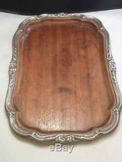 ANTIQUE STERLING AND WOOD VANITY TRAY OR SERVING TRAY Tea set tray OLD