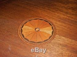 ANTIQUE W. K. COWAN CHICAGO 18 ROUND MAHOGANY #1052 SERVING TRAY With GLASS INSERT