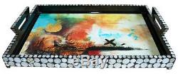 Abstract Elegance Decoupage Black Large Lacquer Tray with Seashell sequin inlay