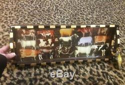 Annie Modica COWS Wood Tray Decoupage Artist Art Bar Home Decor Resin Roquefort