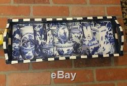 Annie Modica Imari Wood Tray Decoupage Artist Art Bar Decor Blue Chinese Willow