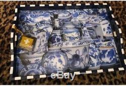 Annie Modica Imari Wood Tray Large Serving Art Bar Decor Blue Chinese Willow EUC