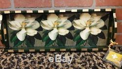 Annie Modica Magnolia Farms Flower Wood Serving Tray Art Bar Home Decor NEW RARE