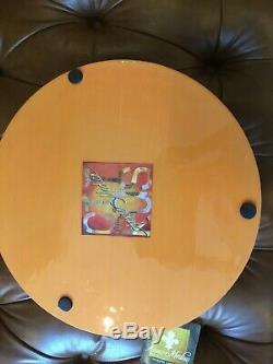 Annie Modica Orange Citrus Fruit Lemon Wood Serving ROUND Tray Art Bar Decor NEW