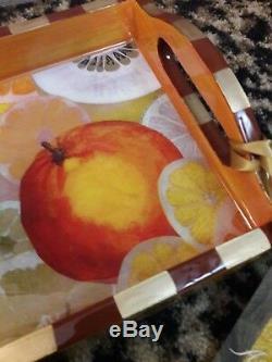 Annie Modica Orange Citrus Fruit Lemon Wood Serving Tropical Tray Art Bar Decor