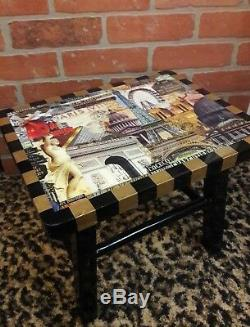 Annie Modica PARIS Eiffel Towel Foot Stepping Stool Wood Art Home Decor RARE NEW